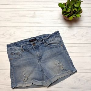Celebrity Pink Light Wash Distressed Denim Shorts
